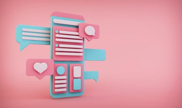 Mobile schnittstelle auf rosa hintergrund