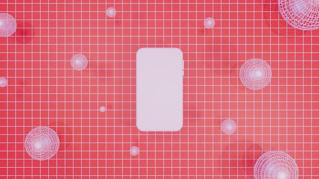 Mobiler modell-3d-rendering-roter hintergrund
