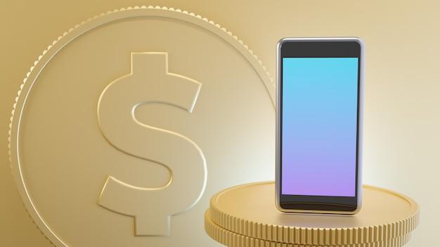 Mobiler platz des smartphones auf den goldenen münzen mit münzdollarzeichenhintergrund. 3d-rendering-illustrationsbild.