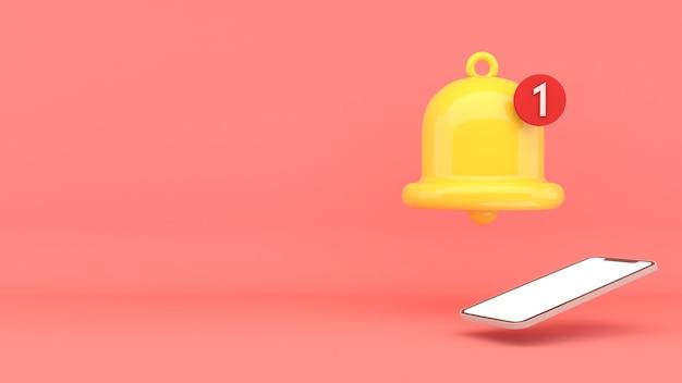 Mobiles benachrichtigungsbild auf rotem hintergrund, mobile benachrichtigung, 3d-rendering