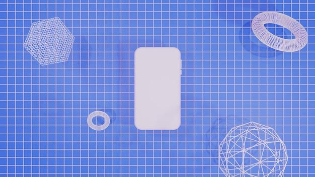 Mobiles modell 3d, das blauen hintergrund wiedergibt