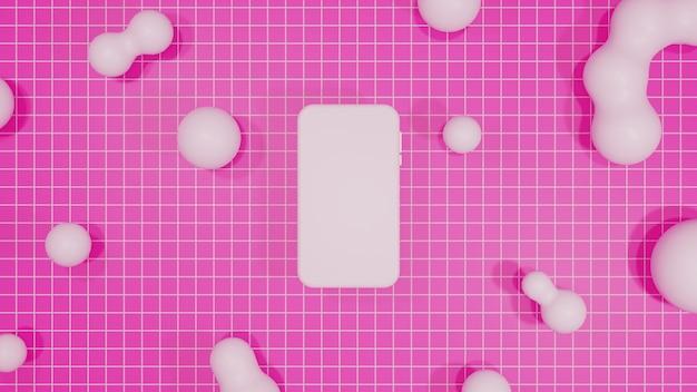 Mobiles modell 3d, das rosa hintergrund rendert