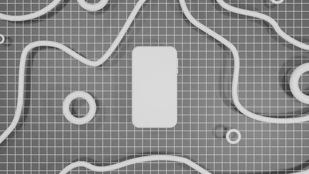 Mobiles modell 3d, das schwarzen hintergrund wiedergibt