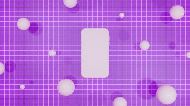 Mobiles modell 3d rendering lila hintergrund