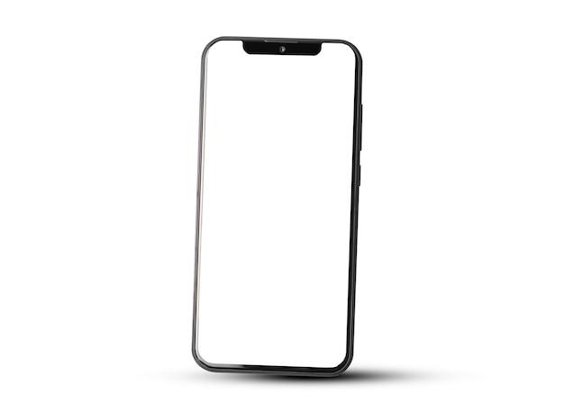 Mobiles smartphone auf weißer hintergrundtechnologie