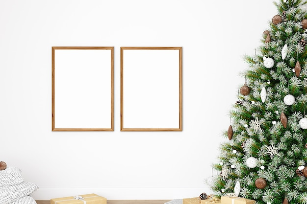 Mocap mit zwei holzrahmen mit weihnachtsbaum