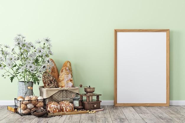 Mock-up des küchenrauminnenraums mit holzrahmen