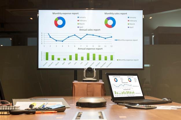 Mock-up-diagrammpräsentation auf display-fernseher und laptop im besprechungsraum