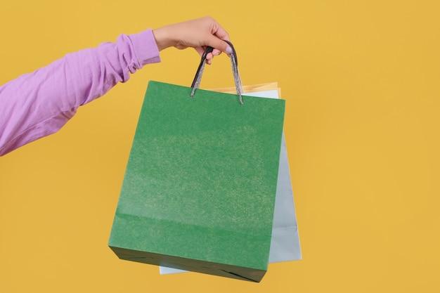 Mock up einkaufstasche, gelb