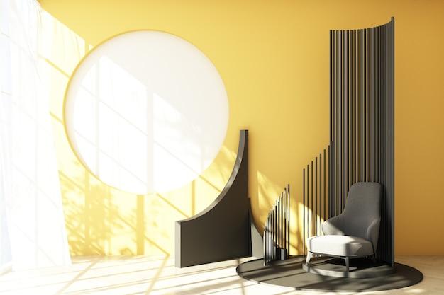 Mock up gelbe abstrakte studiomode minimalen geometrischen form trend mit grauem sessel auf podium plattform mit sonnenlicht und transparent. 3d-rendering