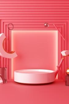 Mock up geometrische form gold und glas textur mit rosa farbpodest für produkt