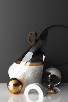Mock up geometrische form gold und glas textur mit schwarzem farbpodest für produkt
