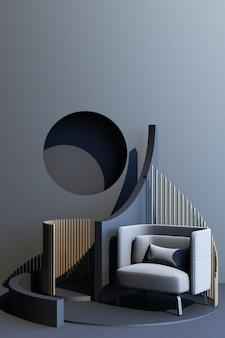 Mock up graue und goldene textur abstrakte studiomode minimalen geometrischen formtrend mit grauem sessel auf podium-plattform. 3d-rendering