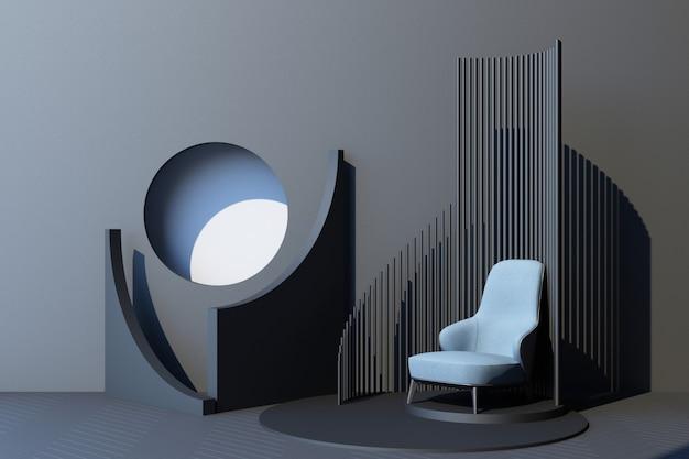 Mock up grauer abstrakter studiomode minimaler geometrischer formtrend mit blauem sessel auf podestplattform. 3d-rendering