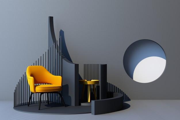 Mock up grauer abstrakter studiomode minimaler geometrischer formtrend mit gelbem sessel auf podestplattform. 3d-rendering