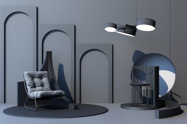 Mock-up grauer abstrakter studiomode minimaler geometrischer formtrend mit grauem sessel auf podestplattform. 3d-rendering