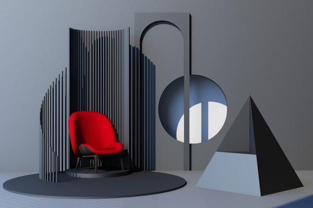 Mock up grauer abstrakter studiomode minimaler geometrischer formtrend mit rotem sessel auf podestplattform. 3d-rendering