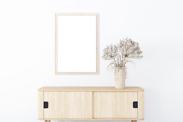 Mock-up im boho-stil rahmenmodell wohnzimmer