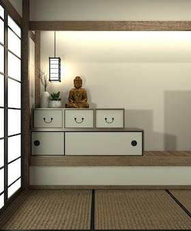 Mock up japan zimmer mit tatami-matte boden und dekoration im japanischen stil wurde im japanischen stil gestaltet.
