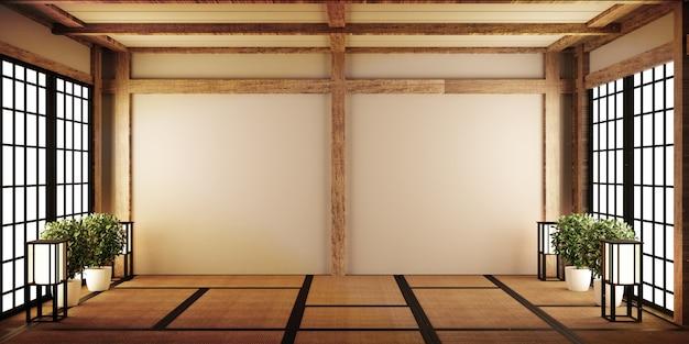 Mock-up, japanische leere raum-tatami-matte das schönste gestalten. 3d-rendering
