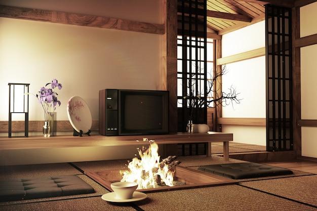 Mock-up, japanische leere raum-tatami-matte das schönste gestalten
