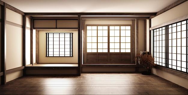 Mock-up, japanischer leerer raum am schönsten. 3d-rendering