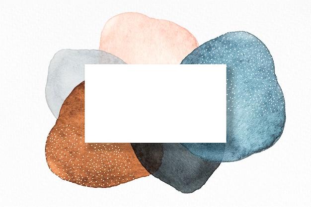 Mock-up-karte mit abstrakter form aquarellkonzept marineblaues poster laden dekorative grußkarte oder einladungsdesignhintergrund ein
