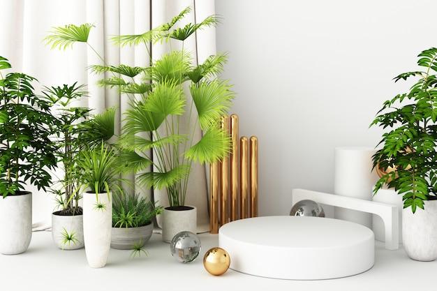 Mock-up-komposition aus weißer geometrischer form gold und glasstruktur mit pflanzenblume und -blatt, podium für produktdesign, 3d-rendering, 3d-darstellung