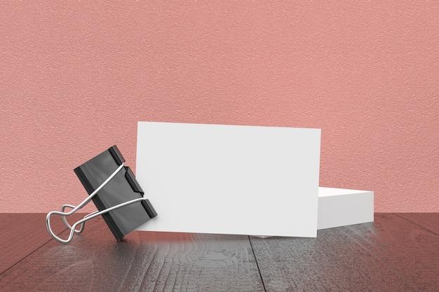 Mock-up, leere visitenkarte auf dem schreibtisch