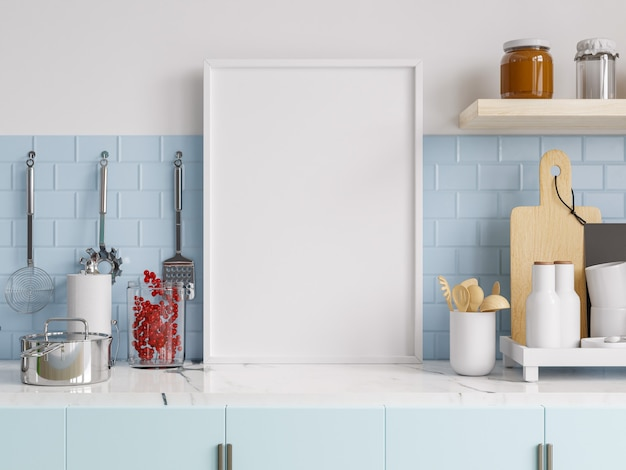 Mock up plakatrahmen im kücheninnenraum. 3d-rendering