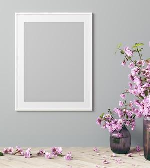 Mock up plakatrahmen im modernen innenraum mit rosa blumen und grauem hintergrund, wohnzimmer