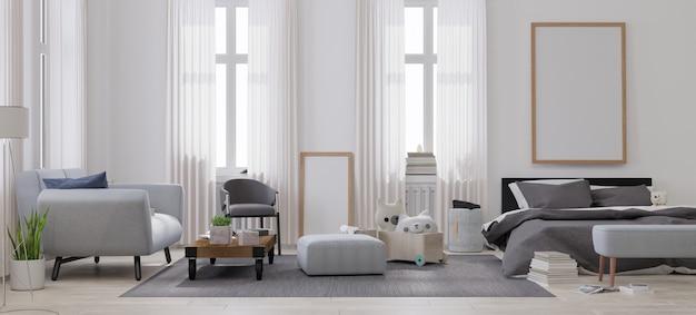 Mock up plakatrahmen im wohnzimmer.