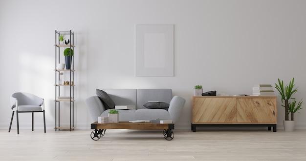 Mock up plakatrahmen im wohnzimmer