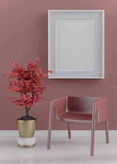 Mock up plakatrahmen in modernen roten innenhintergrund, japanische art, 3d-rendering