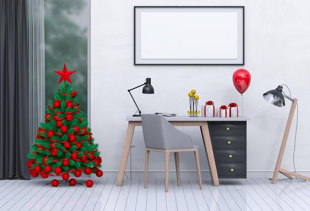 Mock-up-plakatrahmen weihnachtsinnenraum für den arbeitsplatz. 3d-rendering
