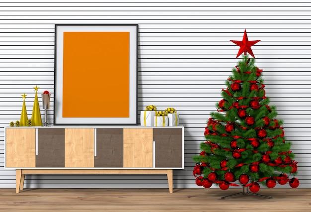 Mock-up-plakatrahmen weihnachtsinnenwohnzimmer. 3d-rendering