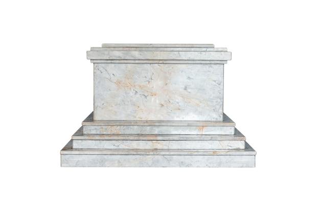 Mock-up-plattform-marmor isoliert auf weißem hintergrund