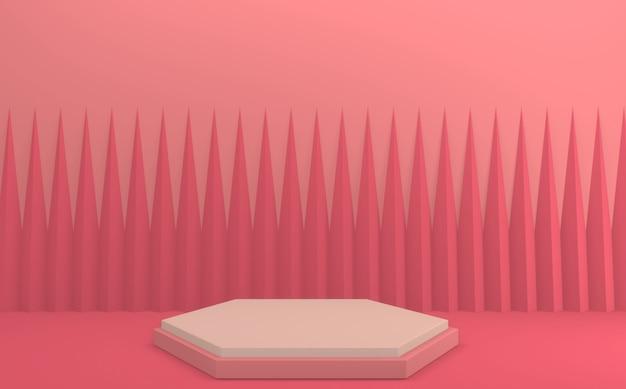 Mock-up-podium mit minimalem design-3d-rendering für rosa podium