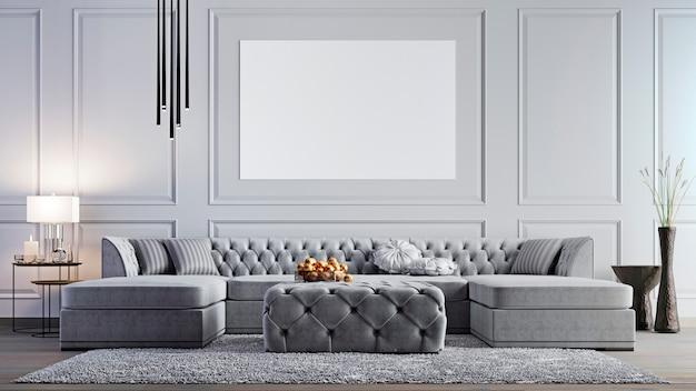 Mock up poster im eleganten wohnzimmer in der stilvollen wohnung.