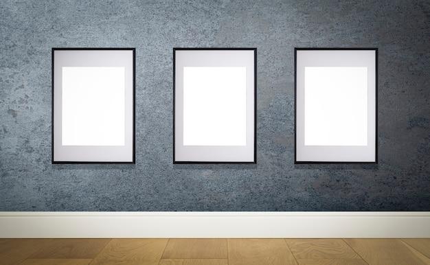 Mock-up-posterrahmen in innenwand weißer rahmen für poster oder fotobild