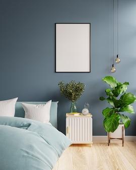 Mock-up-rahmen im schlafzimmerinnenraum dunkelblauen hintergrund, 3d-rendering