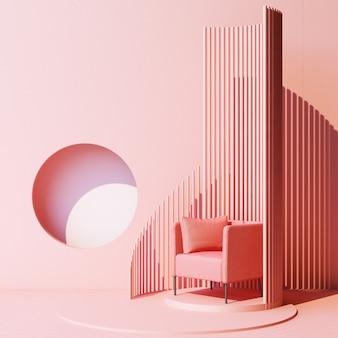 Mock up rosa abstrakte studiomode minimalen geometrischen form trend mit rosa sessel auf podium plattform. 3d-rendering