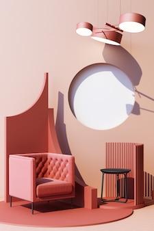 Mock up rosa abstrakte studiomode minimalen geometrischen form trend mit rosa sessel auf podium plattform. vertikaler rahmen des 3d-renderings
