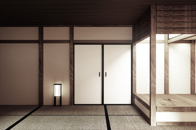 Mock-up, speziell im japanischen stil gestaltet, leerer raum. 3d-rendering