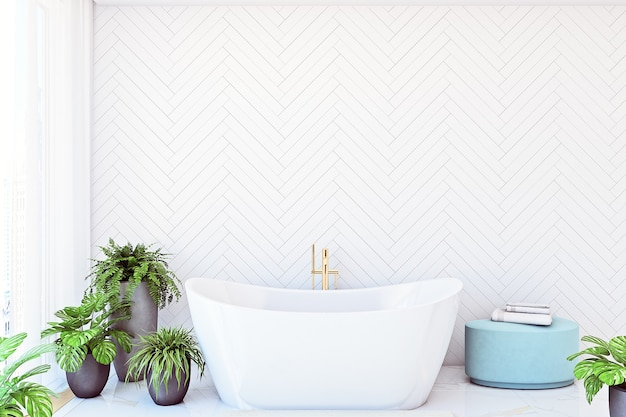 Mock-up-wand im badezimmer mit indoor-blumen in weißer farbe wandhintergrund 3d-rendering
