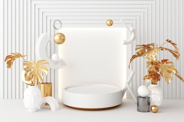 Mock-up-zusammensetzung aus weißer geometrischer form gold und glasstruktur mit goldener pflanzenblume und blatt, podium für produktdesign, 3d-rendering, 3d-darstellung Premium Fotos