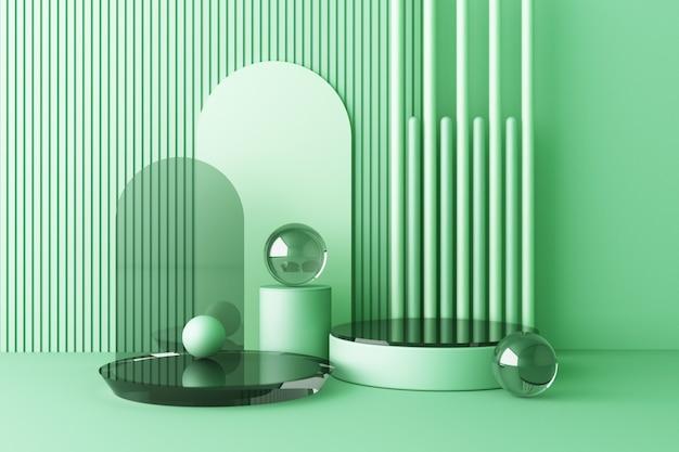 Mock-up-zusammensetzung der geometrischen formglasstruktur mit grünem farbpodium für produktdesign, 3d-rendering, 3d-darstellung