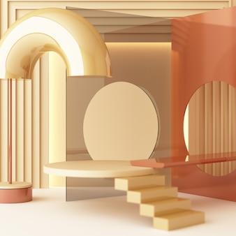 Mock-up-zusammensetzung der geometrischen formgold- und glasstruktur mit braunem, cremefarbenem podium für das produkt