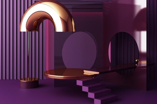 Mock-up-zusammensetzung der geometrischen formgold- und glasstruktur mit violettem farbpodium für das produkt