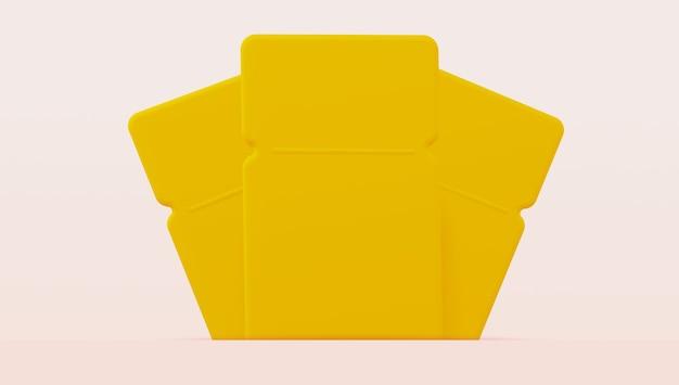 Mockup 3 gelbe coupons für verschiedene zwecke. 3d-rendering
